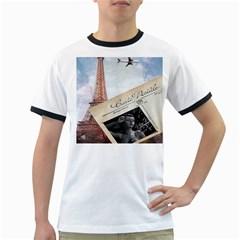 French Postcard Vintage Paris Eiffel Tower Mens' Ringer T Shirt