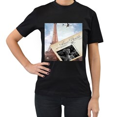 French Postcard Vintage Paris Eiffel Tower Womens' Two Sided T Shirt (black) by chicelegantboutique
