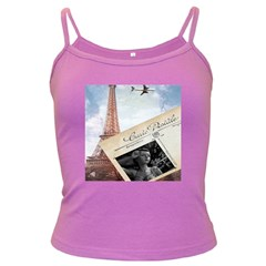 French Postcard Vintage Paris Eiffel Tower Spaghetti Top (colored) by chicelegantboutique