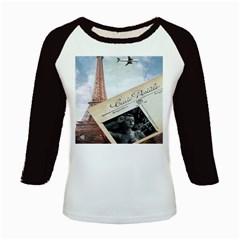 French Postcard Vintage Paris Eiffel Tower Women s Long Cap Sleeve T Shirt by chicelegantboutique