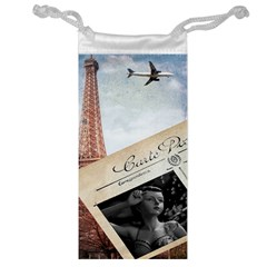 French Postcard Vintage Paris Eiffel Tower Jewelry Bag by chicelegantboutique