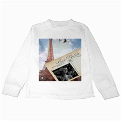 French Postcard Vintage Paris Eiffel Tower Kids Long Sleeve T Shirt by chicelegantboutique