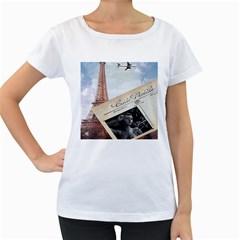 French Postcard Vintage Paris Eiffel Tower Womens' Maternity T Shirt (white) by chicelegantboutique