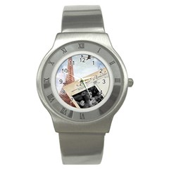 French Postcard Vintage Paris Eiffel Tower Stainless Steel Watch (unisex) by chicelegantboutique