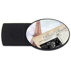 French Postcard Vintage Paris Eiffel Tower 4gb Usb Flash Drive (oval) by chicelegantboutique