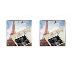 French Postcard Vintage Paris Eiffel Tower Cufflinks (square) by chicelegantboutique