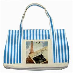 French Postcard Vintage Paris Eiffel Tower Blue Striped Tote Bag by chicelegantboutique