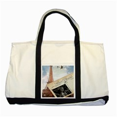French Postcard Vintage Paris Eiffel Tower Two Toned Tote Bag by chicelegantboutique