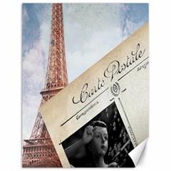 French Postcard Vintage Paris Eiffel Tower Canvas 12  X 16  (unframed) by chicelegantboutique