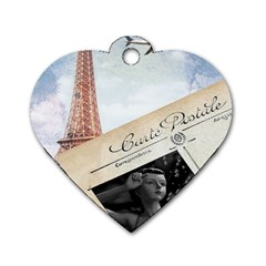 French Postcard Vintage Paris Eiffel Tower Dog Tag Heart (one Sided)  by chicelegantboutique