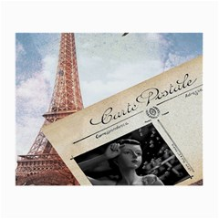 French Postcard Vintage Paris Eiffel Tower Glasses Cloth (small, Two Sided)