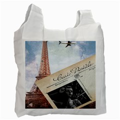 French Postcard Vintage Paris Eiffel Tower Recycle Bag (two Sides) by chicelegantboutique