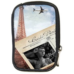 French Postcard Vintage Paris Eiffel Tower Compact Camera Leather Case by chicelegantboutique