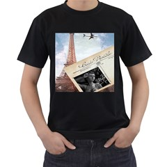 French Postcard Vintage Paris Eiffel Tower Mens' T Shirt (black) by chicelegantboutique