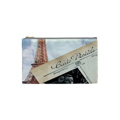French Postcard Vintage Paris Eiffel Tower Cosmetic Bag (small) by chicelegantboutique