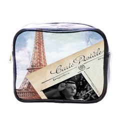 French Postcard Vintage Paris Eiffel Tower Mini Travel Toiletry Bag (one Side) by chicelegantboutique