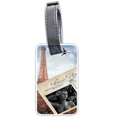 French Postcard Vintage Paris Eiffel Tower Luggage Tag (two Sides) by chicelegantboutique