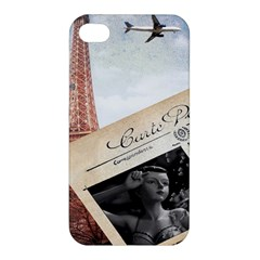 French Postcard Vintage Paris Eiffel Tower Apple Iphone 4/4s Hardshell Case by chicelegantboutique