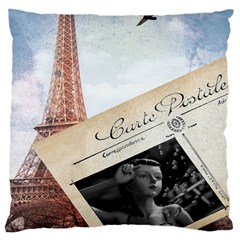 French Postcard Vintage Paris Eiffel Tower Large Cushion Case (two Sided)  by chicelegantboutique
