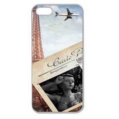 French Postcard Vintage Paris Eiffel Tower Apple Seamless Iphone 5 Case (clear) by chicelegantboutique