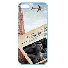 French Postcard Vintage Paris Eiffel Tower Apple Seamless Iphone 5 Case (color)