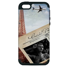 French Postcard Vintage Paris Eiffel Tower Apple Iphone 5 Hardshell Case (pc+silicone) by chicelegantboutique