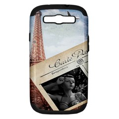French Postcard Vintage Paris Eiffel Tower Samsung Galaxy S Iii Hardshell Case (pc+silicone) by chicelegantboutique