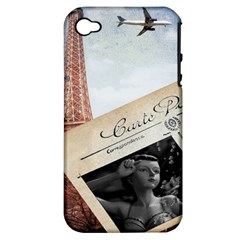 French Postcard Vintage Paris Eiffel Tower Apple Iphone 4/4s Hardshell Case (pc+silicone)