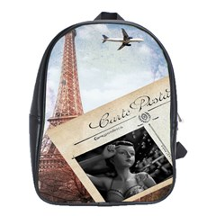 French Postcard Vintage Paris Eiffel Tower School Bag (xl) by chicelegantboutique