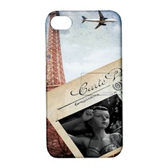 French Postcard Vintage Paris Eiffel Tower Apple Iphone 4/4s Hardshell Case With Stand by chicelegantboutique