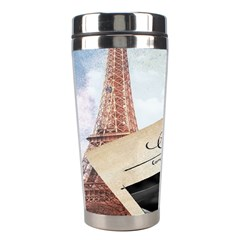 French Postcard Vintage Paris Eiffel Tower Stainless Steel Travel Tumbler by chicelegantboutique