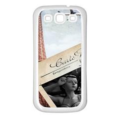 French Postcard Vintage Paris Eiffel Tower Samsung Galaxy S3 Back Case (white) by chicelegantboutique
