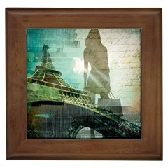 Modern Shopaholic Girl  Paris Eiffel Tower Art  Framed Ceramic Tile by chicelegantboutique