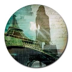 Modern Shopaholic Girl  Paris Eiffel Tower Art  8  Mouse Pad (round) by chicelegantboutique