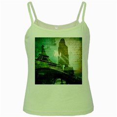 Modern Shopaholic Girl  Paris Eiffel Tower Art  Green Spaghetti Tank by chicelegantboutique