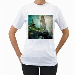 Modern Shopaholic Girl  Paris Eiffel Tower Art  Womens  T Shirt (white) by chicelegantboutique