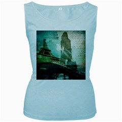 Modern Shopaholic Girl  Paris Eiffel Tower Art  Womens  Tank Top (Baby Blue) by chicelegantboutique