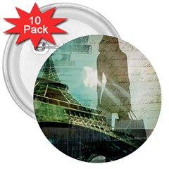 Modern Shopaholic Girl  Paris Eiffel Tower Art  3  Button (10 Pack) by chicelegantboutique