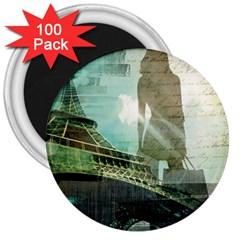 Modern Shopaholic Girl  Paris Eiffel Tower Art  3  Button Magnet (100 Pack) by chicelegantboutique