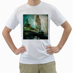 Modern Shopaholic Girl  Paris Eiffel Tower Art  Mens  T Shirt (white) by chicelegantboutique