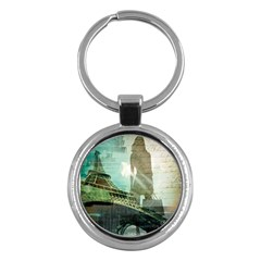Modern Shopaholic Girl  Paris Eiffel Tower Art  Key Chain (round) by chicelegantboutique