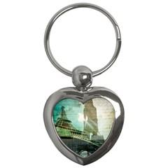 Modern Shopaholic Girl  Paris Eiffel Tower Art  Key Chain (heart) by chicelegantboutique