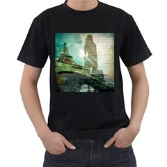 Modern Shopaholic Girl  Paris Eiffel Tower Art  Mens' Two Sided T-shirt (Black) by chicelegantboutique