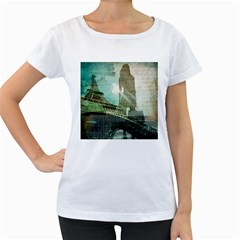 Modern Shopaholic Girl  Paris Eiffel Tower Art  Womens' Maternity T Shirt (white) by chicelegantboutique