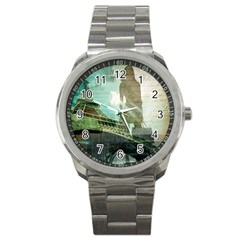 Modern Shopaholic Girl  Paris Eiffel Tower Art  Sport Metal Watch