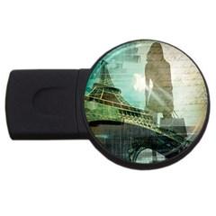 Modern Shopaholic Girl  Paris Eiffel Tower Art  4gb Usb Flash Drive (round) by chicelegantboutique
