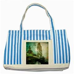 Modern Shopaholic Girl  Paris Eiffel Tower Art  Blue Striped Tote Bag