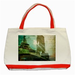 Modern Shopaholic Girl  Paris Eiffel Tower Art  Classic Tote Bag (red) by chicelegantboutique