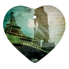 Modern Shopaholic Girl  Paris Eiffel Tower Art  Heart Ornament (two Sides) by chicelegantboutique
