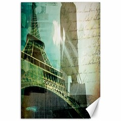 Modern Shopaholic Girl  Paris Eiffel Tower Art  Canvas 12  X 18  (unframed)